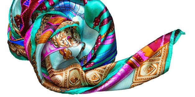 Silk scarf isolated on white