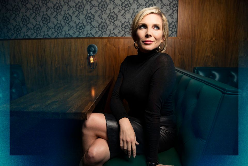 Actor June Diane Raphael poses for photos after a taping of the HuffPost show