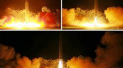 북한이 평성에서 ICBM 추정 미사일을