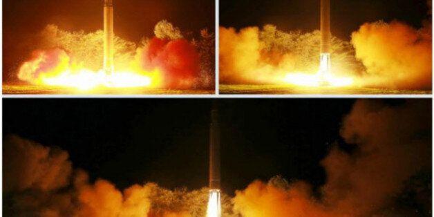 북한이 평성에서 ICBM으로 추정되는 미사일을