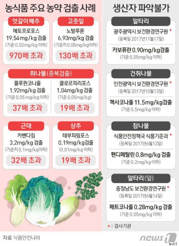 무·배추 등 채소에서 기준치를 초과한 농약이 올해 400건 이상
