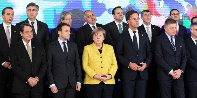 BRUSSELS, BELGIUM - DECEMBER 14: German Federal Chancellor Angela Merkel (front C), Greek Cypriot leader...