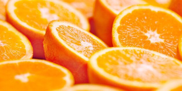 Oranges portions background. Shallow depth of field.Related