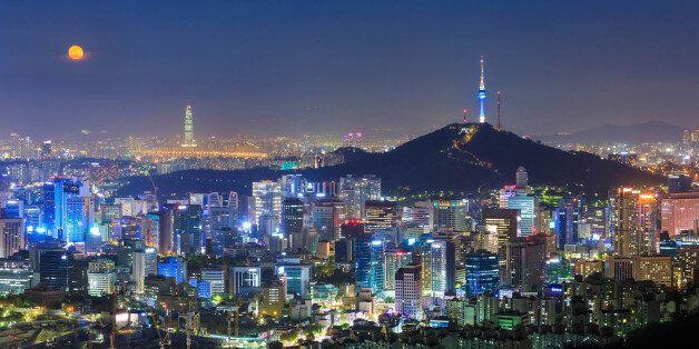 Seoul City Skyline and N Seoul Tower in Seoul, South