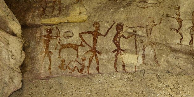 Archeological pre-historic human clift paint over 4000 years ago, Nakhonratchasima,