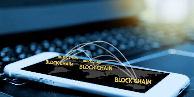 Digital money , blockchain and bitcoin concept. Block chain texts and network connect link and smartphone...