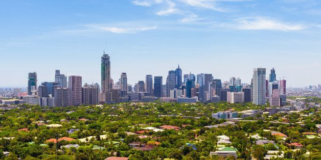 Aerial view of Makati city - Modern financial and business district of Metro Manila,