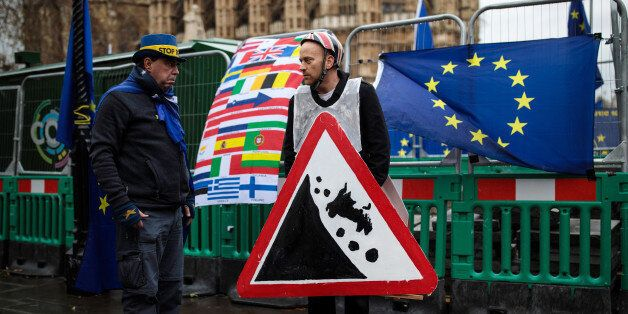 LONDON, ENGLAND - DECEMBER 13: Anti-brexit demonstrators gather with European Union flags outside the...