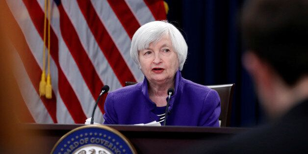 U.S. outgoing Federal Reserve Chair Janet Yellen holds a news conference after a two-day Federal Open...