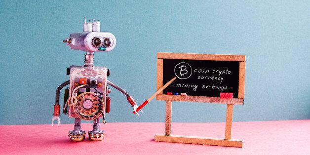 Bitcoin cryptocurrency digital money concept. Robot professor explains electronic mining cash financial...