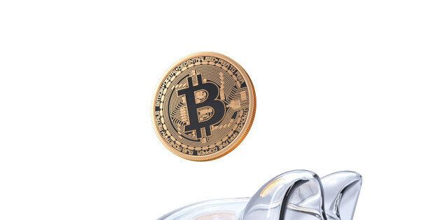 Bitcoin mining concept. 3D