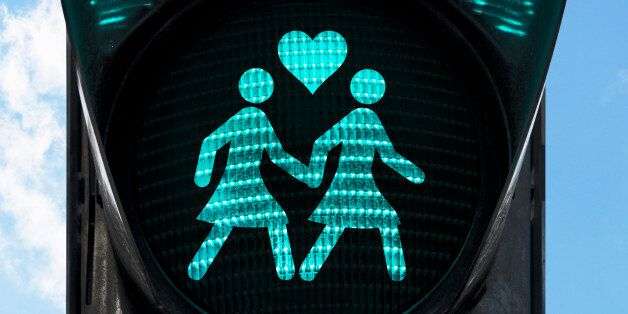 traffic light with gay theme - two women holding