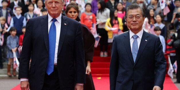 SEOUL, SOUTH KOREA - NOVEMBER 07: South Korean President Moon Jae-In (R) and U.S. President Donald Trump...