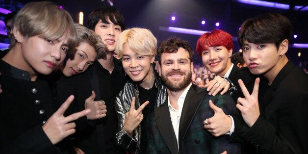 LOS ANGELES, CA - NOVEMBER 19: Members of BTS and Alex Pall during the 2017 American Music Awards at...