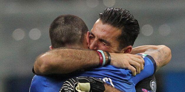 MILAN, ITALY - NOVEMBER 13: Gianluigi Buffon of Italy cries after loosing at the end of the FIFA 2018...