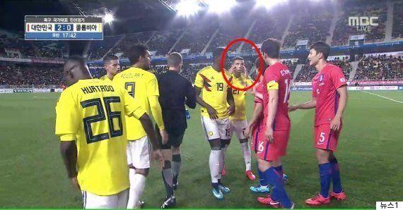 콜롬비아 축구선수가 한국팀과의 평가전에서 '째진 눈 제스처'를