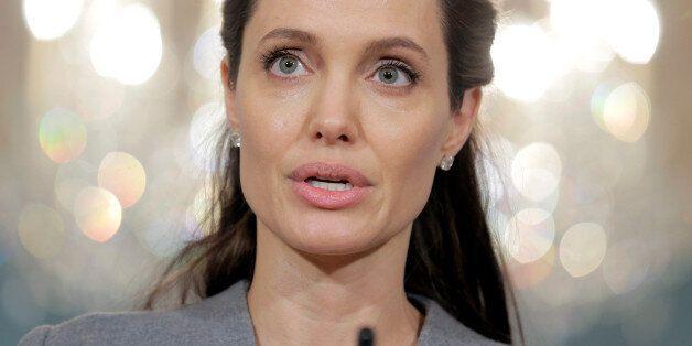 Actress Angelina Jolie speaks about the plight of refugees on World Refugee Day at the State Department...