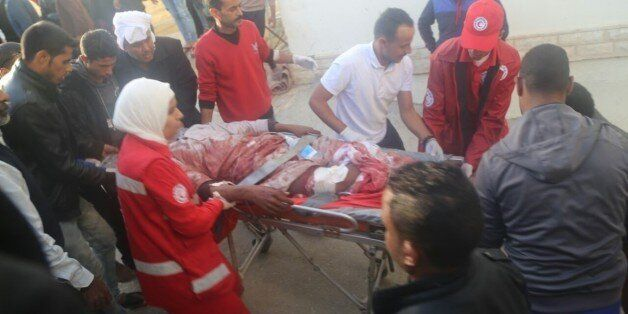 AL ARISH, EGYPT - NOVEMBER 24: Woundeds are taken to the hospital after the Egypt Sinai mosque bombing...