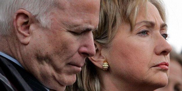 Presidential hopefuls U.S. Senator John McCain (R-AZ), (L), and Senator Hillary Rodham Clinton (D-NY),...