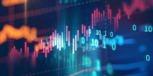 financial stock market graph on technology abstract