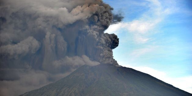 General view of Mount Agung during an eruption seen from Kubu sub-district in Karangasem Regency, on...