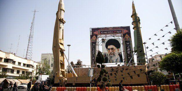 TEHRAN, IRAN - SEPTEMBER 25: Iranian ballistic missiles Sejjil and Qadr-H are on display at Baharestan...