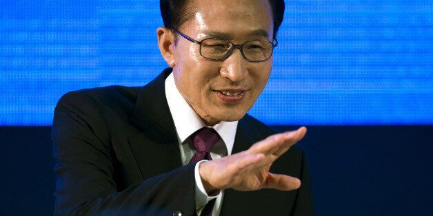 South Korean President Lee Myung-bak delivers his speech at the Business 20 forum in the framework of...