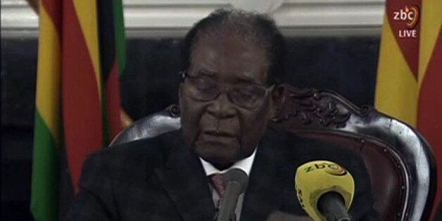 A video grab made on November 19, 2017 from footage of the broadcast of Zimbabwe Broadcasting corporation...
