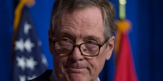 US Trade Representative Robert Lighthizer looks on during a press conference at the conclusion of the...