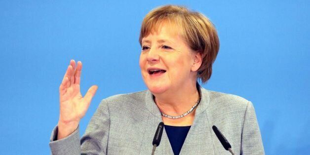 German Chancellor and leader of the Christian Democratic Union (CDU) party, Angela Merkel, gives a talk...