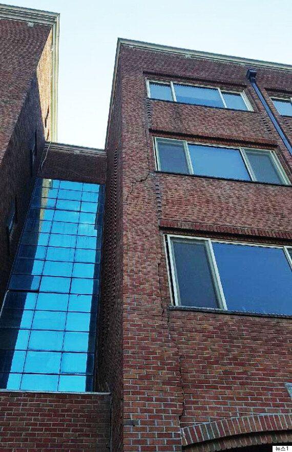 포항 지진으로 한동대 건물 외벽이