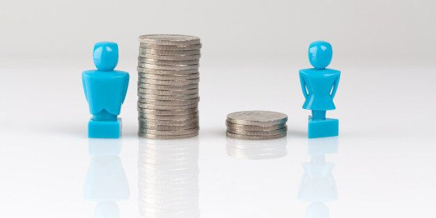 Income inequality concept shown with male and female figurines and piles of