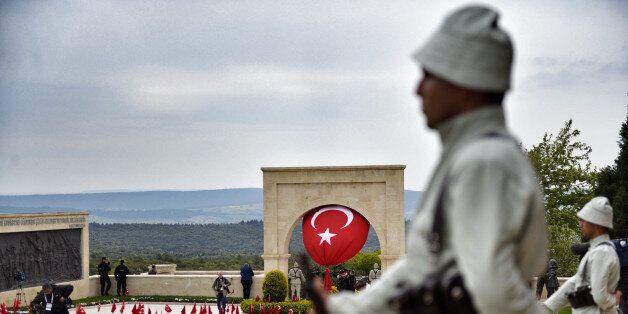 ECEABAD, TURKEY - APRIL 25: Mounted Turkish gendarmes dressed as World War I Ottoman Turkish soldiers...