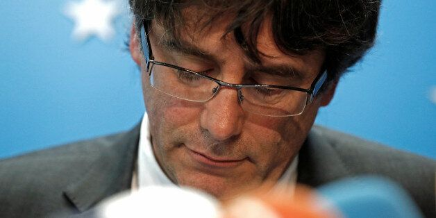 Sacked Catalan leader Carles Puigdemont attends a news conference at the Press Club Brussels Europe in...