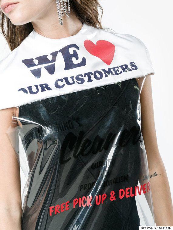 모스키노의 새 드레스는 세탁소 비닐 봉지를