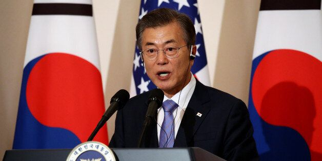 Moon Jae-in, South Korea's president, speaks during a news conference with U.S. President Donald Trump,...