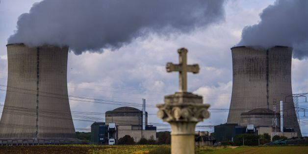 The nuclear power plant of Cattenom, eastern France, is pictured on October 12, 2017 after Greenpeace...