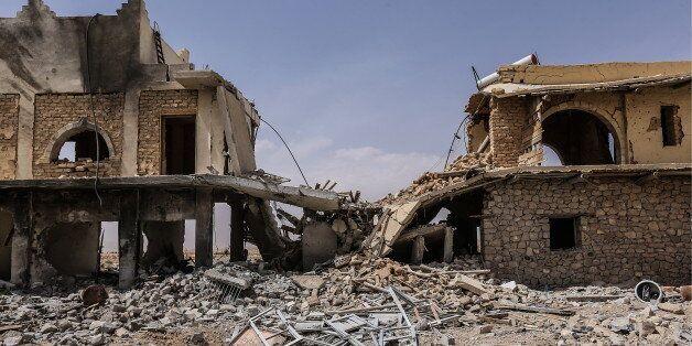 AL-QARYATAYN, SYRIA. APRIL 7, 2016. The Mar Elian Catholic monastery burnt by Islamic State (IS) militants....
