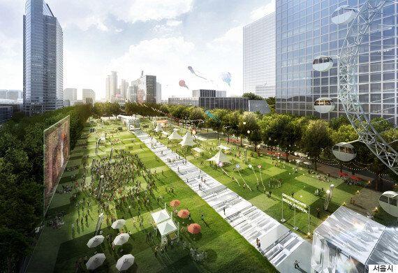 서울시가 강남에 만드는 넓이 3만㎡ 공원의 조감도(그림