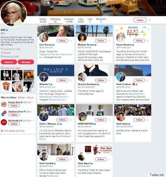 KFC 공식 트위터가 정확히 11명만 팔로우하는