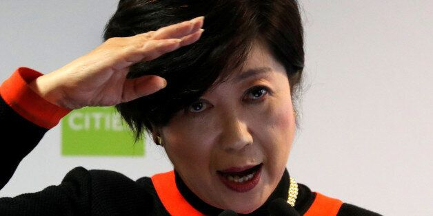 Tokyo Governor Yuriko Koike speaks during a two-day summit of the C40 Cities initiative, a network of...
