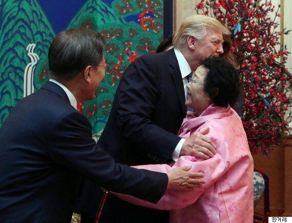 영화 '아이캔스피크'의 주인공인 위안부 피해자가 트럼프와 포옹하다