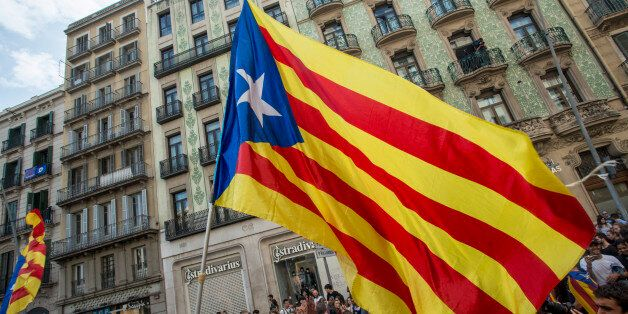 Around 300 000 persons gather in the streets of Barcelona on 3 October 2017 to protest against the violence...