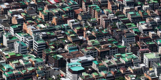 Residential buildings are seen from the Seoul Sky observation deck of the Lotte Corp. World Tower in...