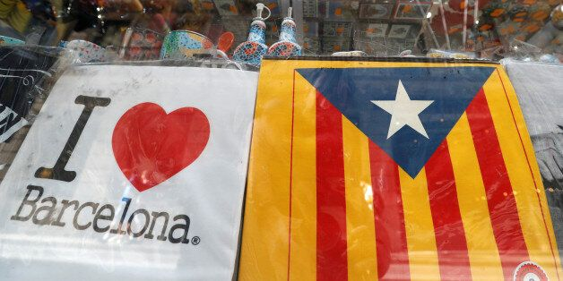An Estelada (Catalan separatist flag) is seen in a touristic shop in Barcelona, Spain October 6, 2017....
