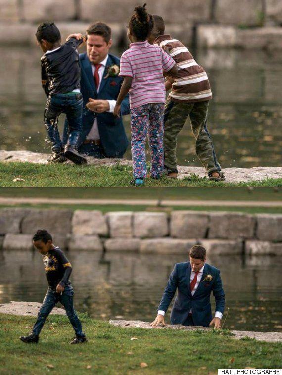 웨딩 촬영을 하다가 물에 빠진 아이를 구한