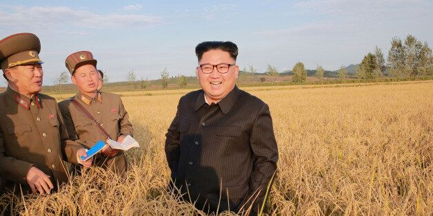 North Korean leader Kim Jong Un visits a Farm No. 1116 of KPA Unit 810 in this September 29, 2017 photo...