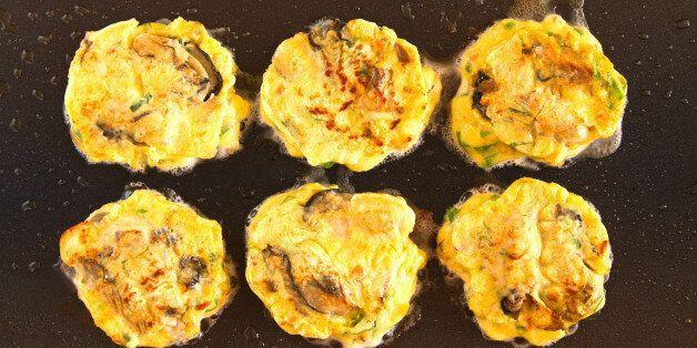 Making, griddle, Korean traditional pancakes, Jeon, Holiday