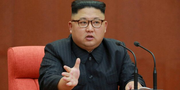 North Korean leader Kim Jong Un speaks during the Second Plenum of the 7th Central Committee of the Workers'...