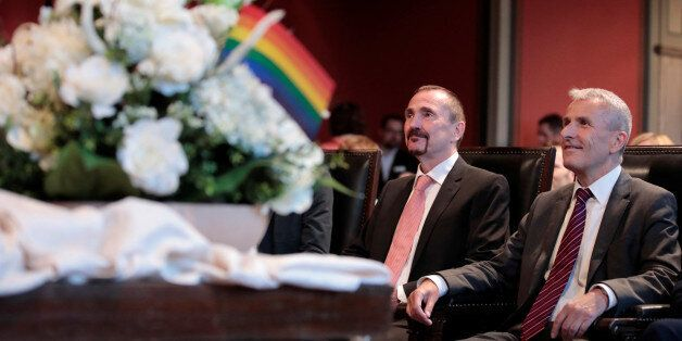 Same-sex couple Karl Kreil and Bodo Mende get married at a civil registry office, becoming Germany's...